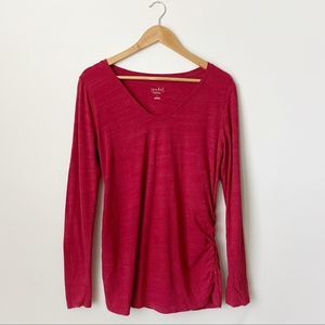 2/$22 Isabel Maternity Red Long Sleeve Scoop Neck